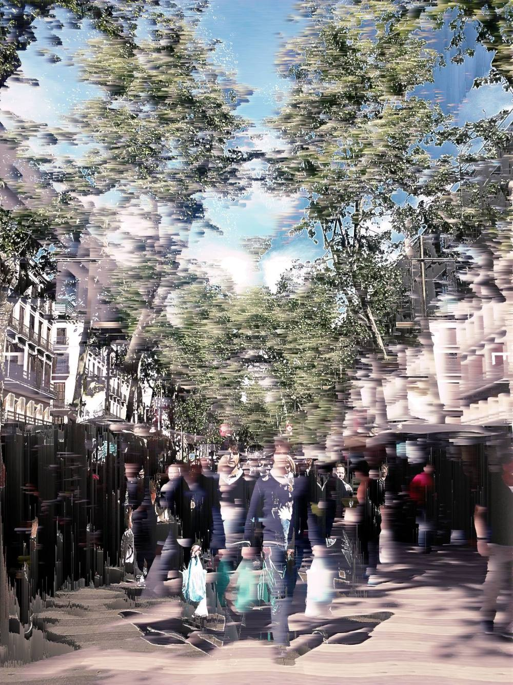 dabnotu,barcelona,street,pixel sort, bitmap sort