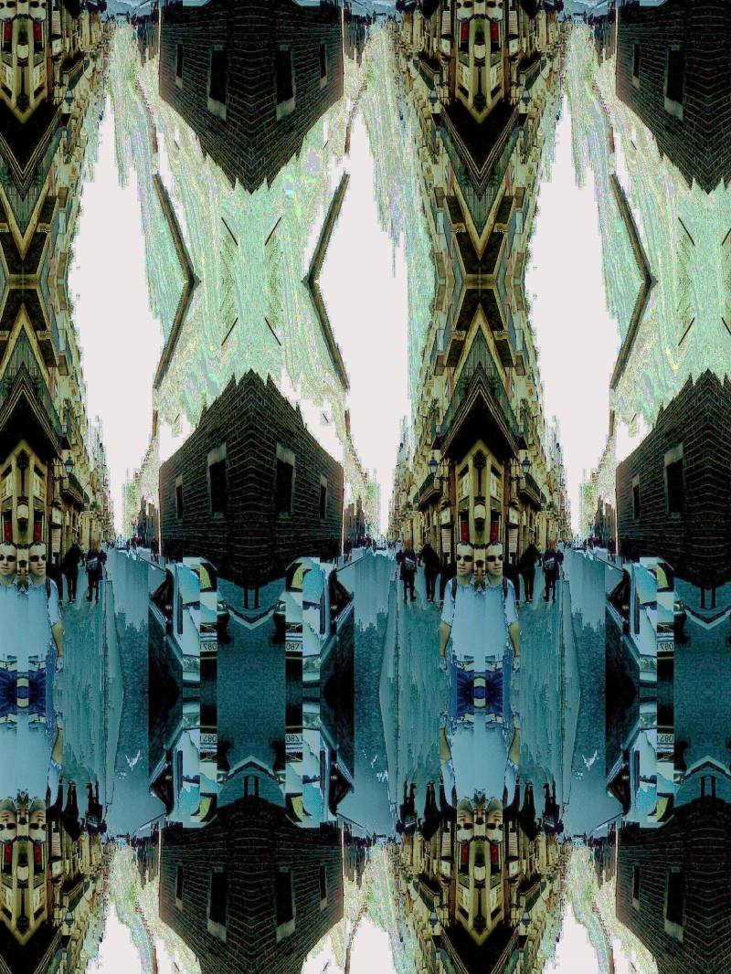 Barcelona street slit scan image, pixel sorted...