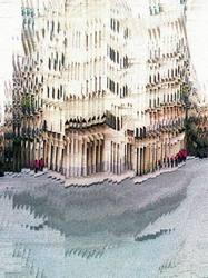 Barcelona street smartphone slit scan pixel sort.