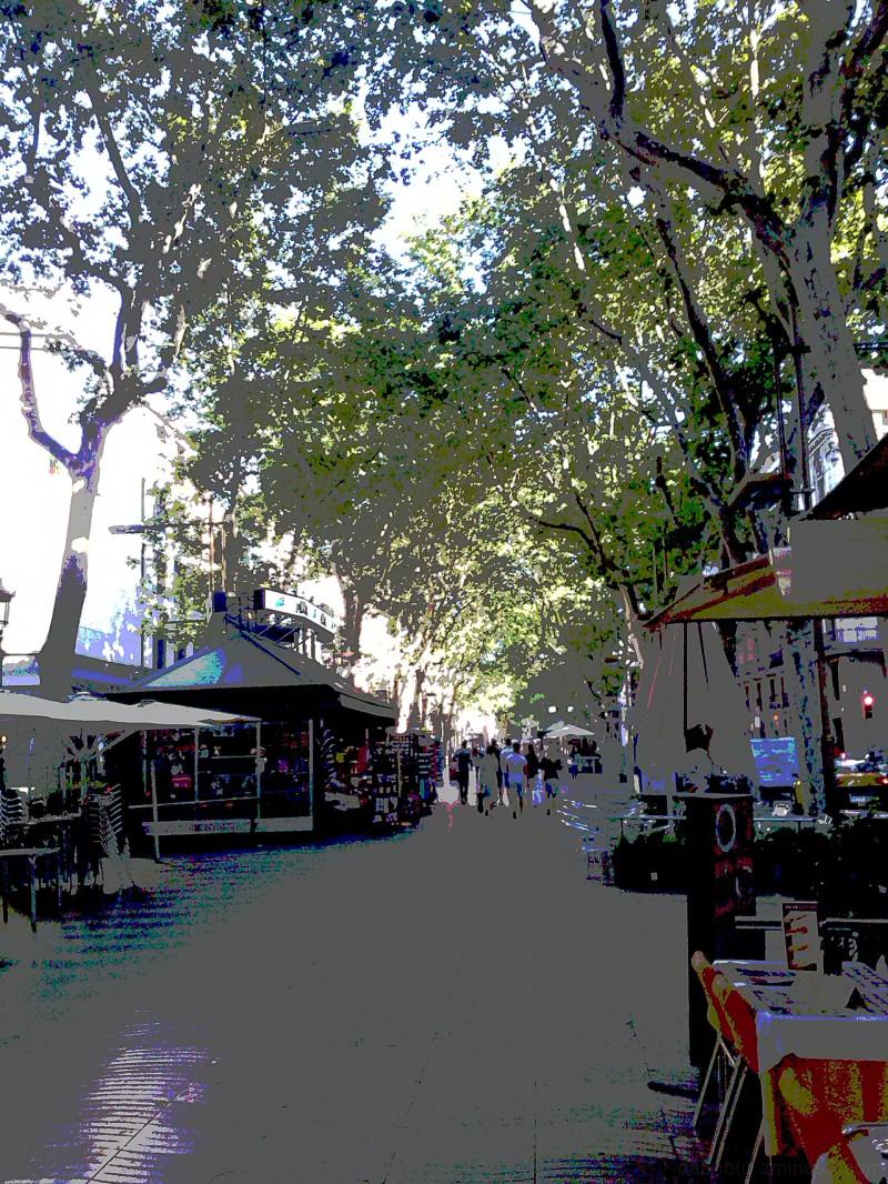 Barcelona street posterization via smartphone.
