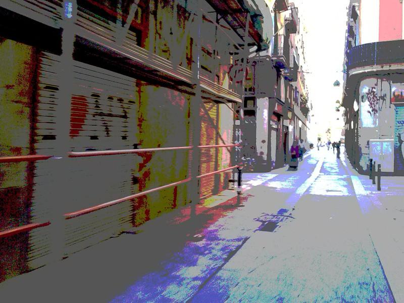 Barcelona street smartphone posterization deal.