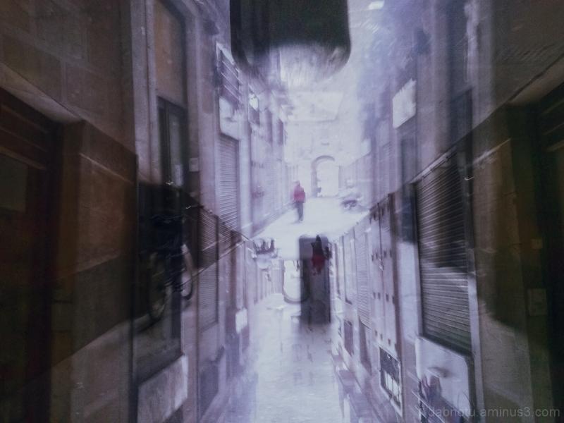 Smartphone double exposure Barcelona street scene.