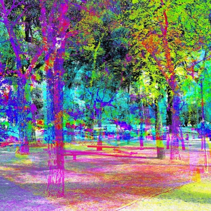 A park in Barcelona, CMYK/RGBA style, The GIMP.