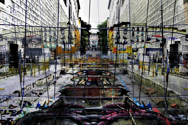 Barcelona street mirrored image avec The GIMP!