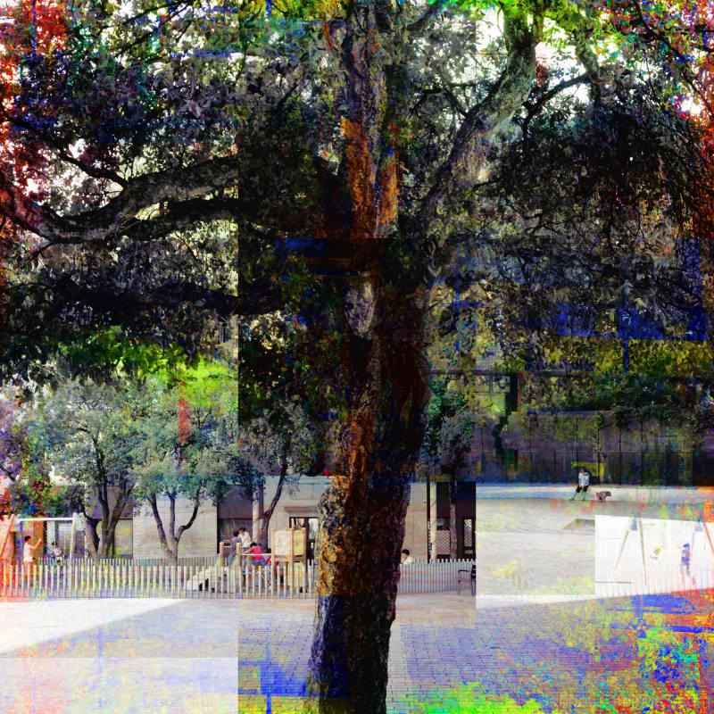 Barcelona summer street park scene, GIMPed.