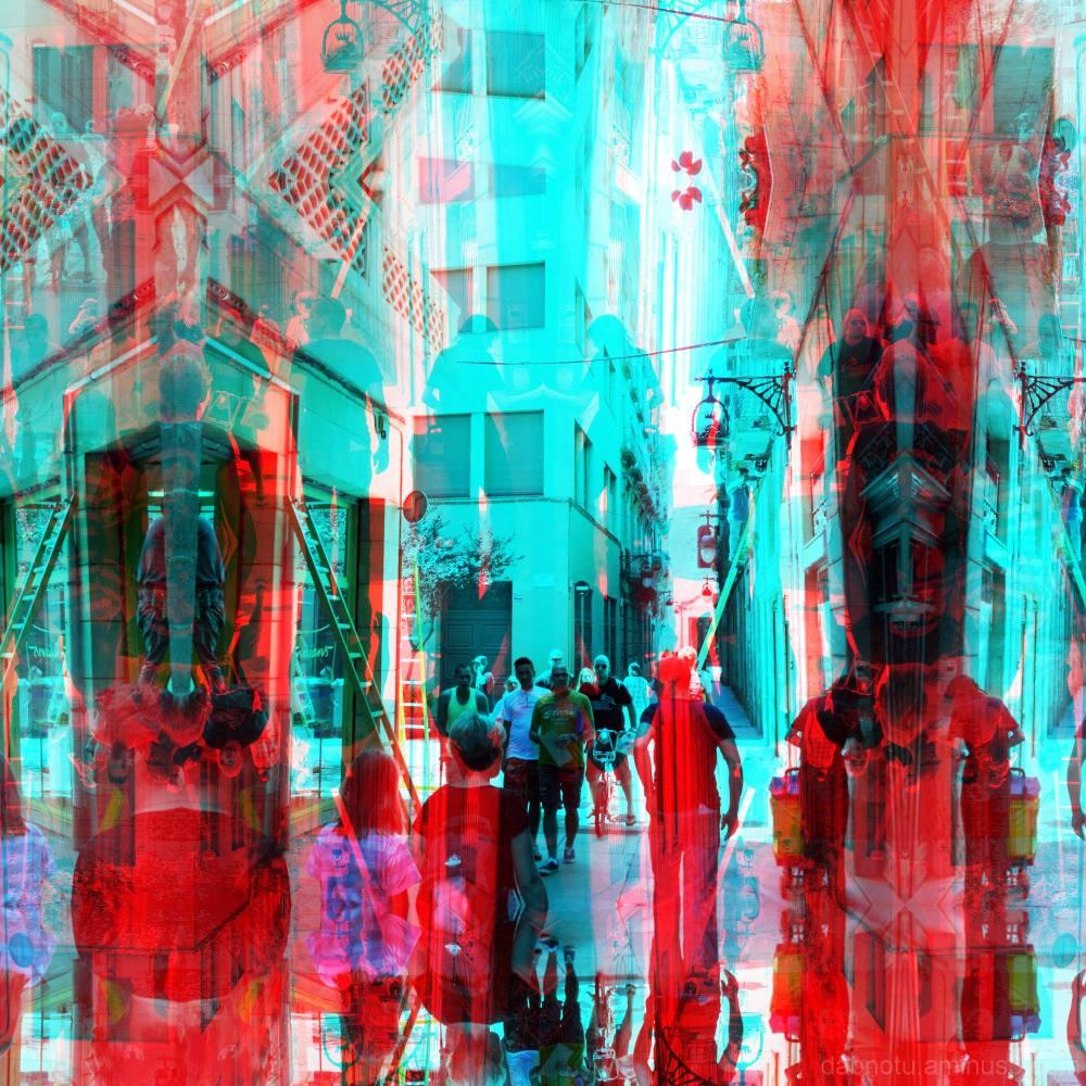 Barcelona street 3D anaglyph via The GIMP!