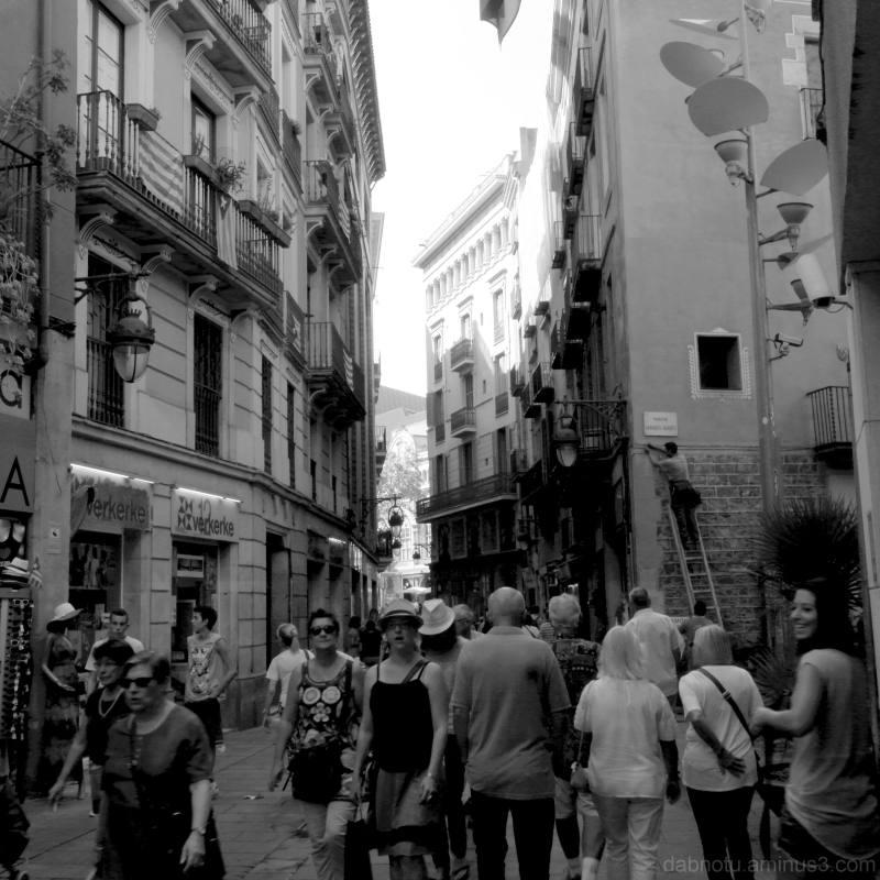 Barcelona monochrome street scene.