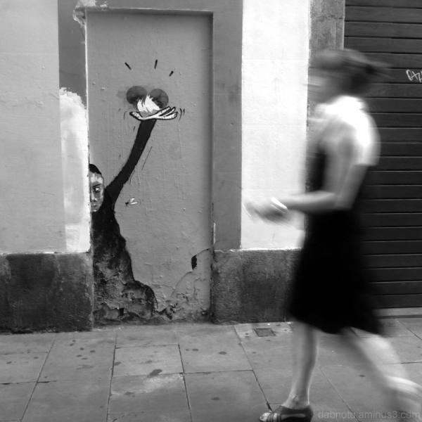Barcelona street graffiti monochrome instance.