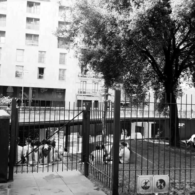 Barcelona monochrome street scene instance.