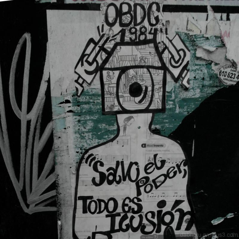 Pasteup graffiti piece, Barcelona, street.