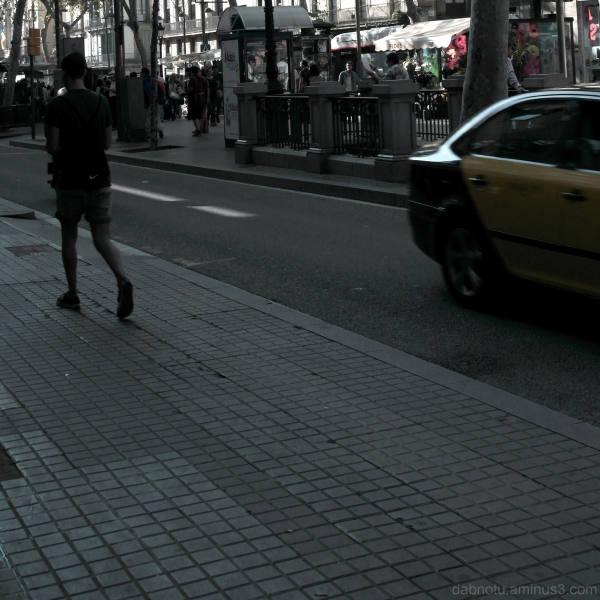 Street view down Las Ramblas, Barcelona.