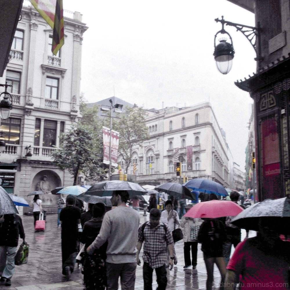 Rainy day, Barcelona streets, Gothic quarter.