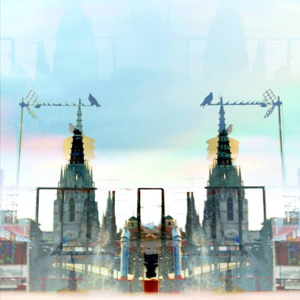 Layered/superimposed/mirrored Barcelona cityscape.