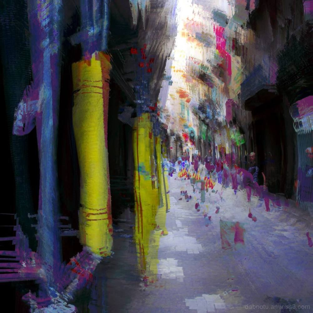 Barcelona street layer sequence photomanipulation.