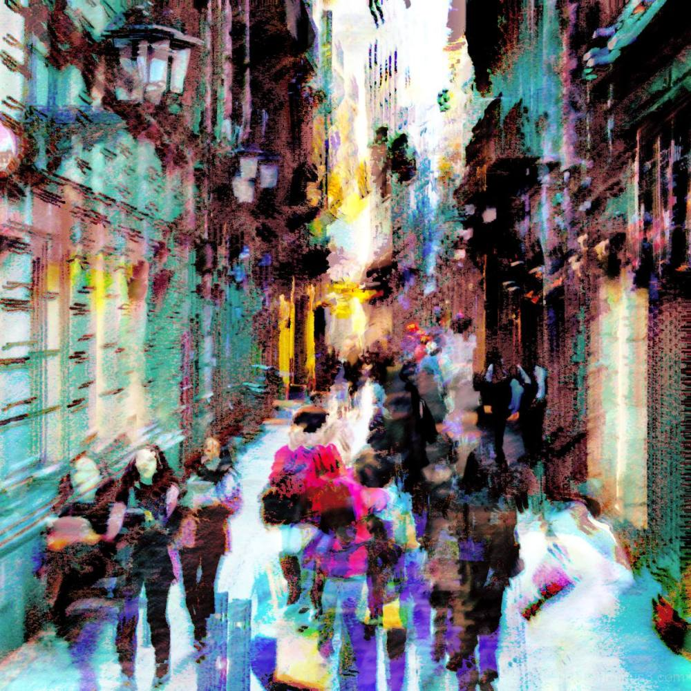 Layers/sequence, people walking, Barcelona.