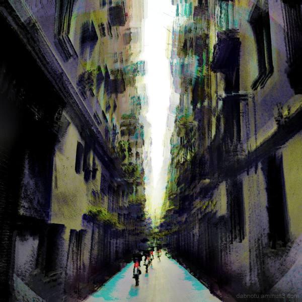 Early morning street scene, El Raval, Barcelona.