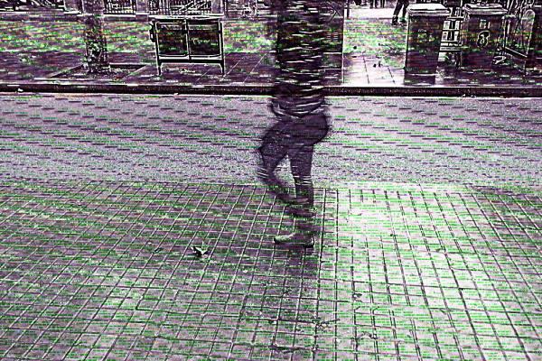 Barcelona street image w/ layered glitch version.