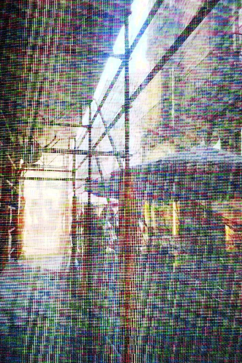Barcelona street image with databent/glitch stuff.