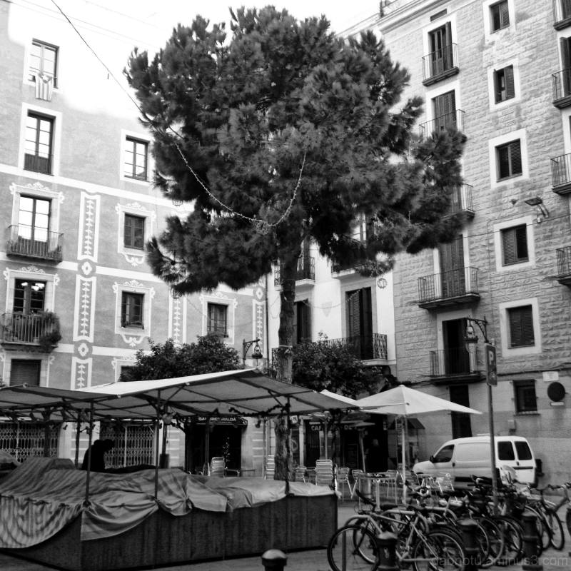 B/W Barcelona street image, slight edit.