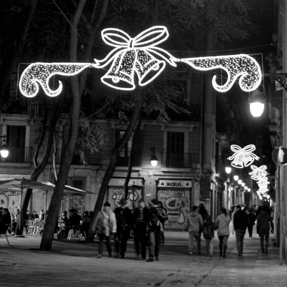 Black and white Barcelona street image, edited.