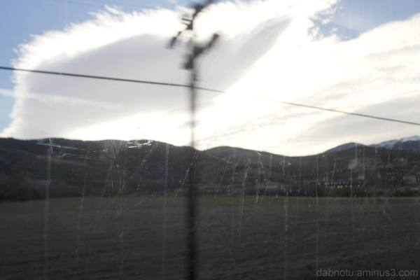 View out the window, moving train, France/Spain.