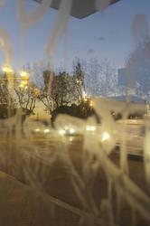 Murky view, street, bus stop, morning, Barcelona.