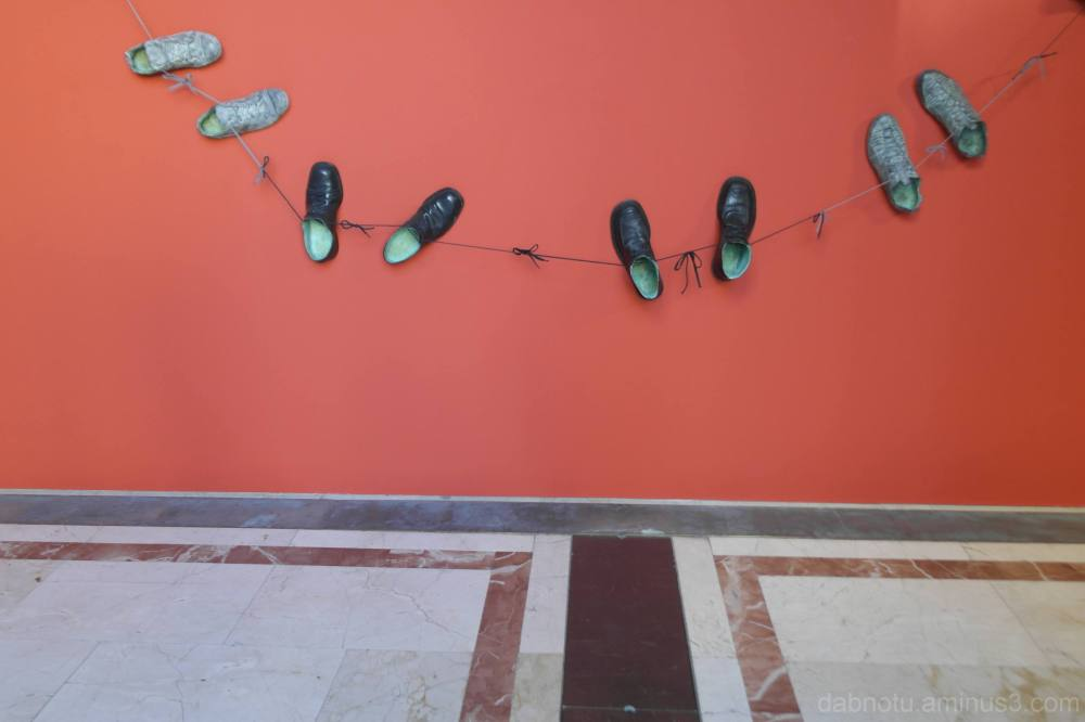 String of shoes/museum exhibit entrance/Barcelona.