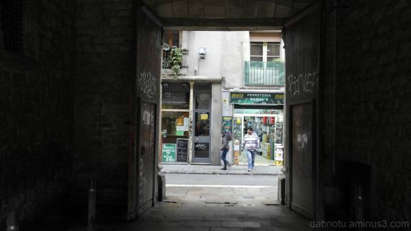 Morning scene through an archway, Raval/Barcelona.