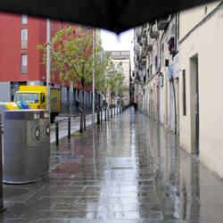 A view down Carrer Robadors, Raval, Barcelona.