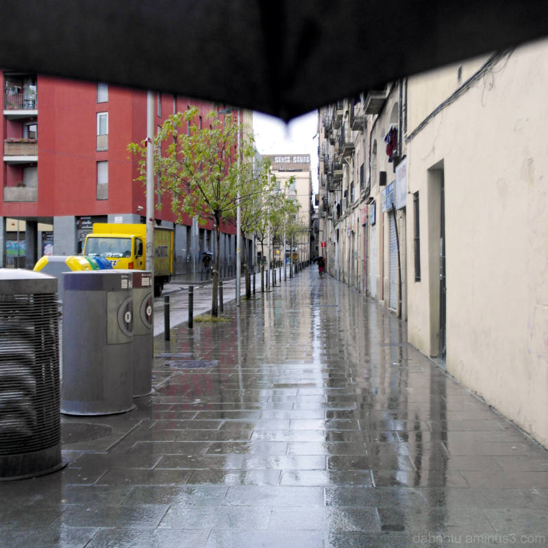 A view down Carrer Robadors, Raval, Barcelona.