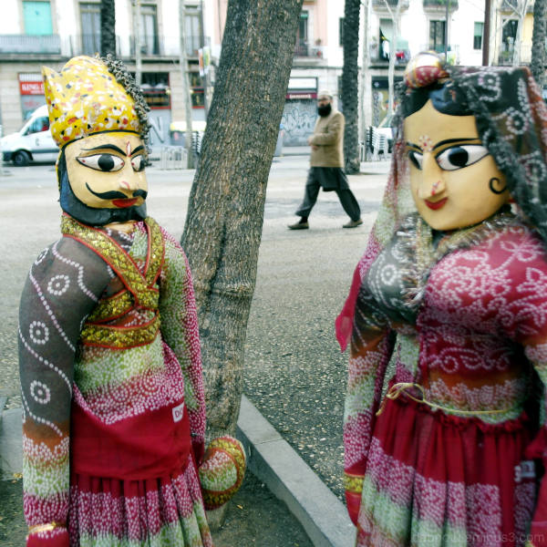 Two statues along Rambla del Raval, in Barcelona.