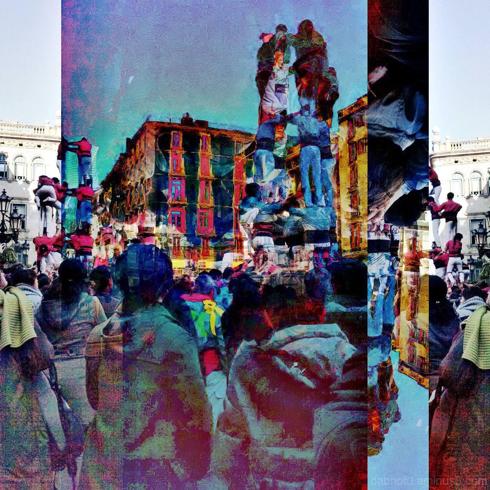 Barcelona street castellers photomanipulation GIMP