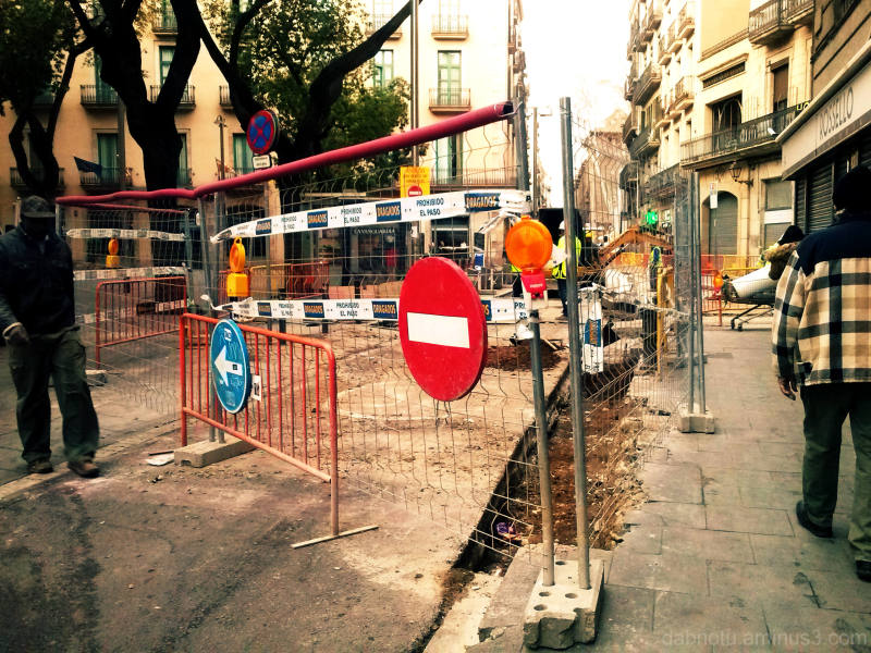 Barcelona street repairs cross process with GIMP!