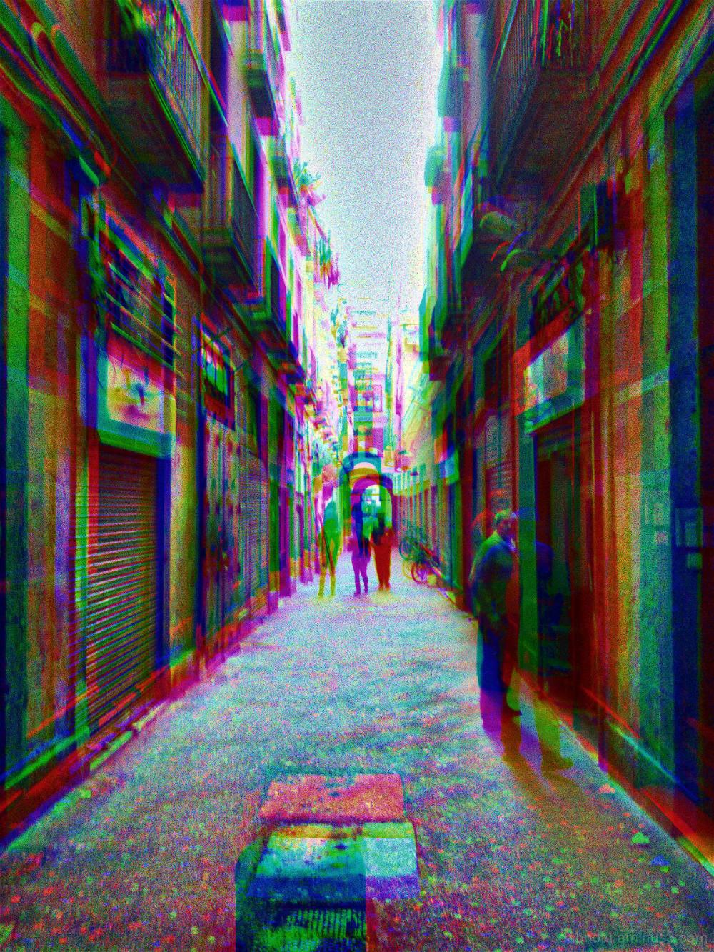 Barcelona street smartphonography, RGB, via GIMP.