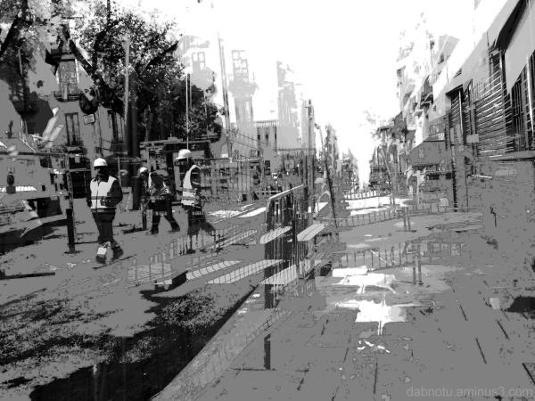 Barcelona black and white street repairs, GIMP.