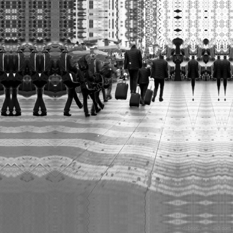 Barcelona black and white street GIMP edit.