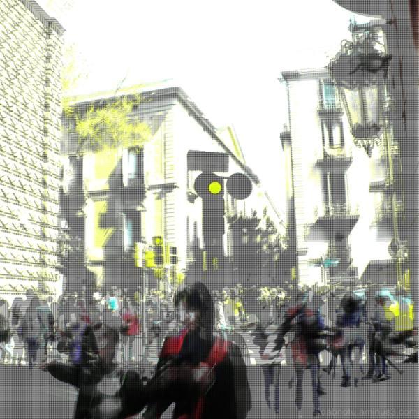 Barcelona glitch street tourism digital picture.