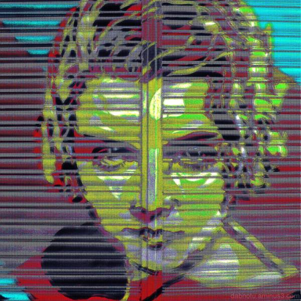 Layered glitch images, Barcelona shutter graffiti.
