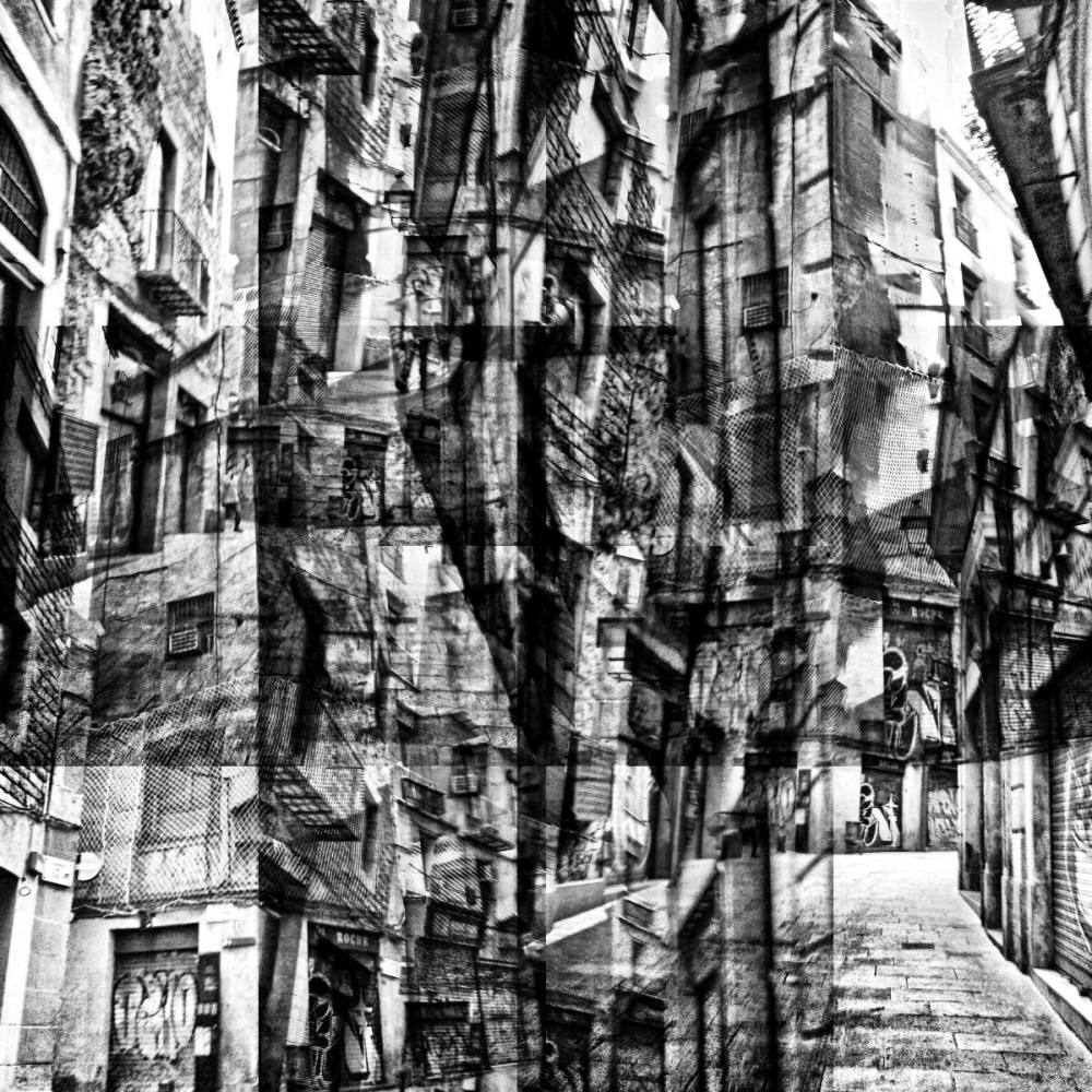 Barcelona faux b/w street photography GIMP edit.