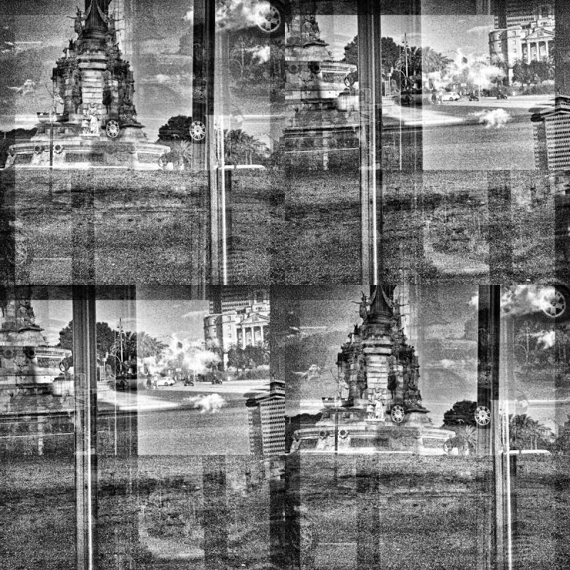 Barcelona black and white smartphone GIMP edit.