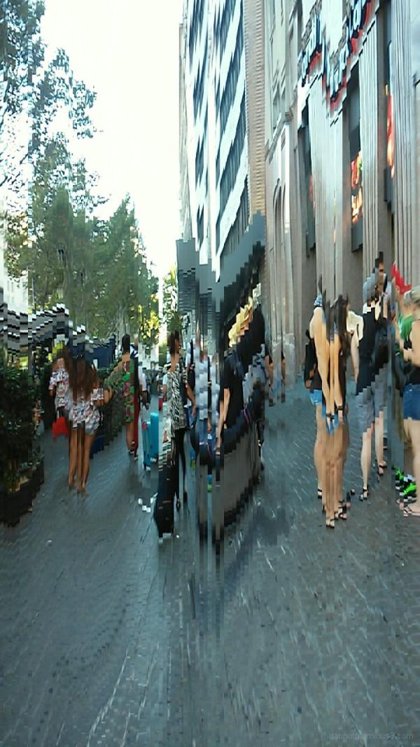 Barcelona smartphone slit scan street photography.