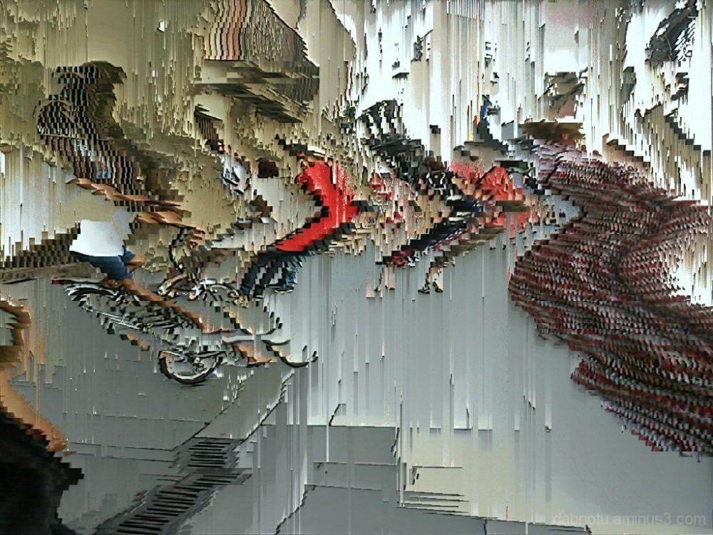 Barcelona pixel sort slit scan street photography.