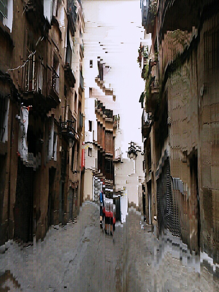 Barcelona smartphone slit scan street photography.