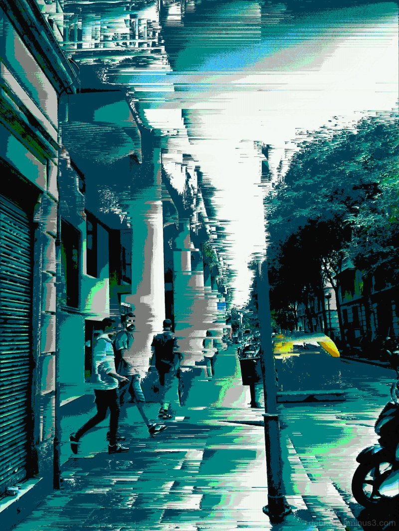 Barcelona pixel sort glitch street photography.