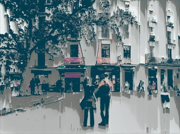 Barcelona pixel sort glitch street photography.