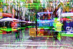 Barcelona digital street photography CMY GIMP mix.