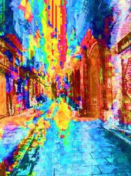 Barcelona glitched smartphone street photography.