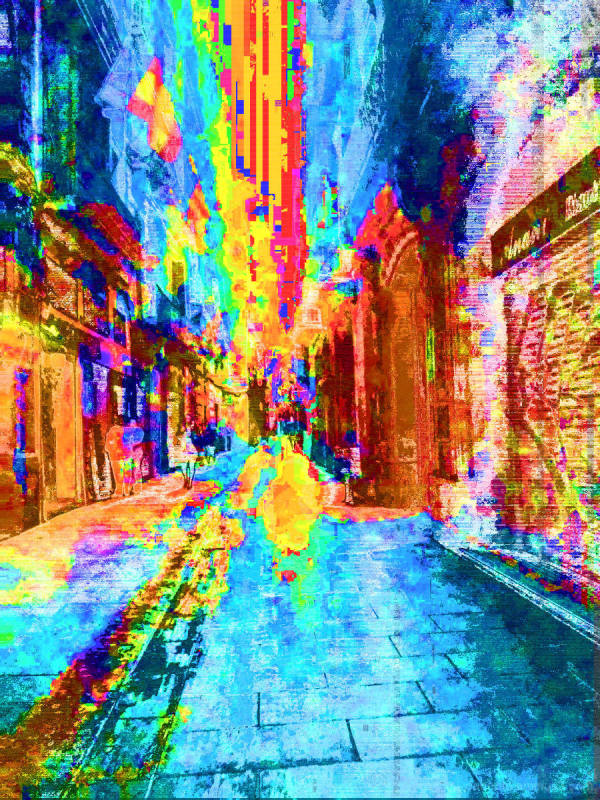 Barcelona glitched smartphone street photography.