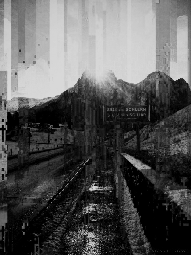 Black and white glitch smartphone photography.