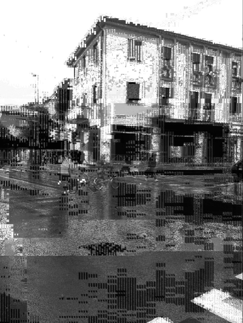Black and white glitch smartphone photography.